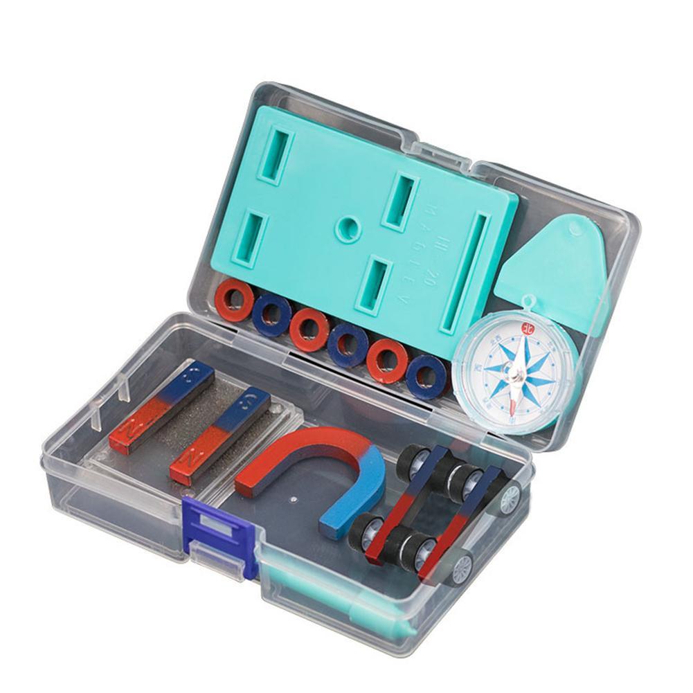 Children Science Bar Ring Horseshoe Compass Magnet Car Kit Experiment Tools