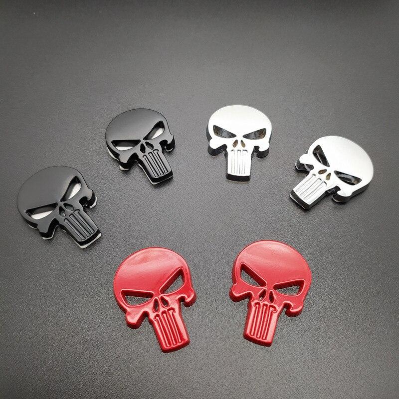 2 Pcs Punisher Metal Badge Magwell Sticker Metal Decal Sticker 3D Motorcycle Car Emblem Self Adhesive DIY Punisher Skull Badges