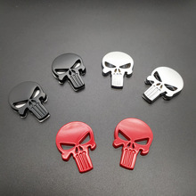 Metal Decal Sticker Badge Car-Emblem Punisher Skull Motorcycle Magwell 2pcs 3D Self-Adhesive