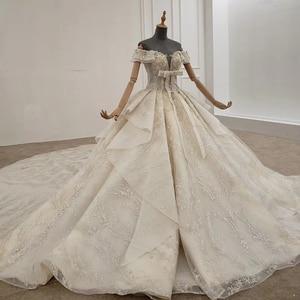 Image 3 - HTL1249 2020 sparkly งานแต่งงานชุดปิดไหล่แขนสั้นประดับด้วยลูกปัด applique โบว์ Petite งานแต่งงานชุด платье на выпускной