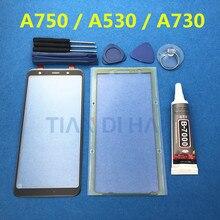 Reemplazo de lente de cristal exterior para samsung galaxy A7 A8 Plus A8 + A8 2018 A750 A750F A730 A530, pantalla táctil LCD frontal, pegamento y herramientas