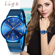 LIGE Womens Watches Top Brand luxury Analog Quartz Watch Women Full Blue Mesh Stainless Steel Date Clock Fashion Ultra-thin Dial carnival brand quartz watch women classic retro roman numeral dial ultra thin full stainless steel casual lady clock new