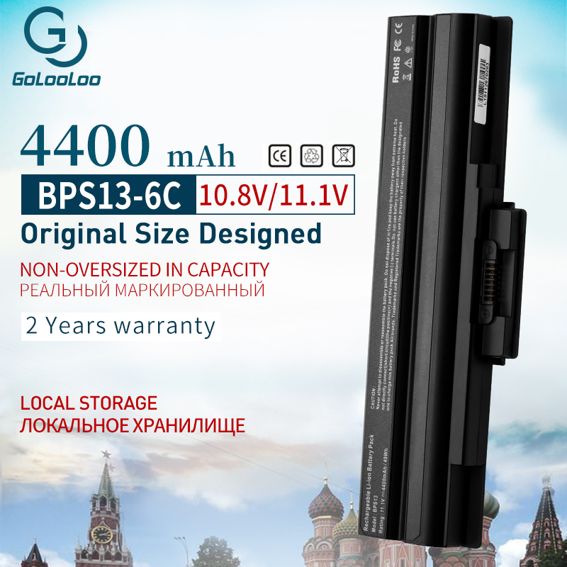 Golooloo 4400 MAh New Battery For Sony BPS13/B BPS13/Q VGP-BPS13B/B VGP-BPS13A/B VGN-AW71JB VGN-AW80NS VGN-AW82DS