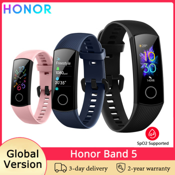 HUAWEI Honor Band 5 Global Version Smart Band Blood Oxygen Heart Rate Monitor Fitness Bracelet Wristband AMOLED Color Display honor band 6 smart wristband 1 47 inch amoled touch screen professional sports fitness tracker heart rate blood oxygen monitor long standby smart watch