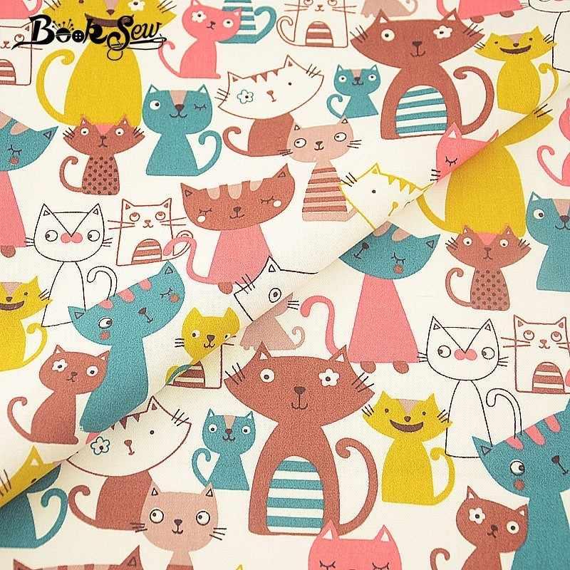 Booksew uśmiech koty seria 100% bawełna Twill dziecko tkaniny barwnik Tissu Coton Telas De Algodon Para Patchwork szycia biały materiał