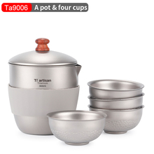 Tiartisan Household Teapot 99.7% Pure Titanium 300ml Mini Kettle with Filter Pot For Home use and Office