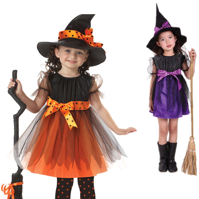 Kids Children Girls Halloween Witch Dress+Hat Children's Day Princess Party Dresses Carnival Cosplay Costume SER88