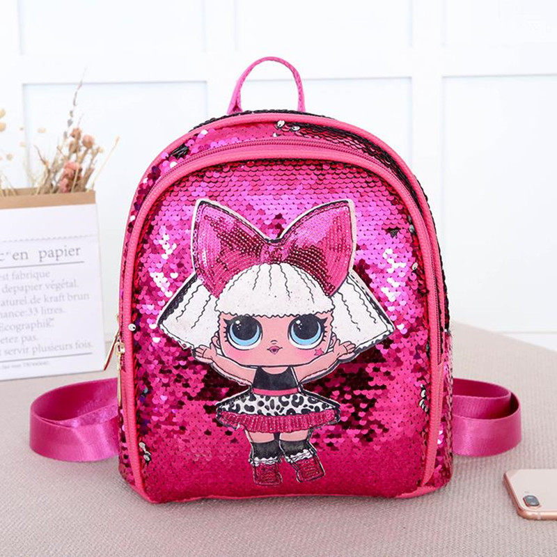 New Child birthday present <font><b>Backpack</b></font> shining cartoon Sequin School bags High capacity Travel Fashion Girls Zipper <font><b>Backpack</b></font> image