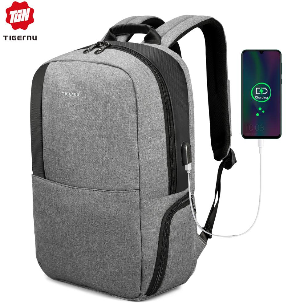 Tigernu Unique technique multifunction schoolbag for teenage USB 15.6 Laptop Anti theft Fashion Business Men backpack image