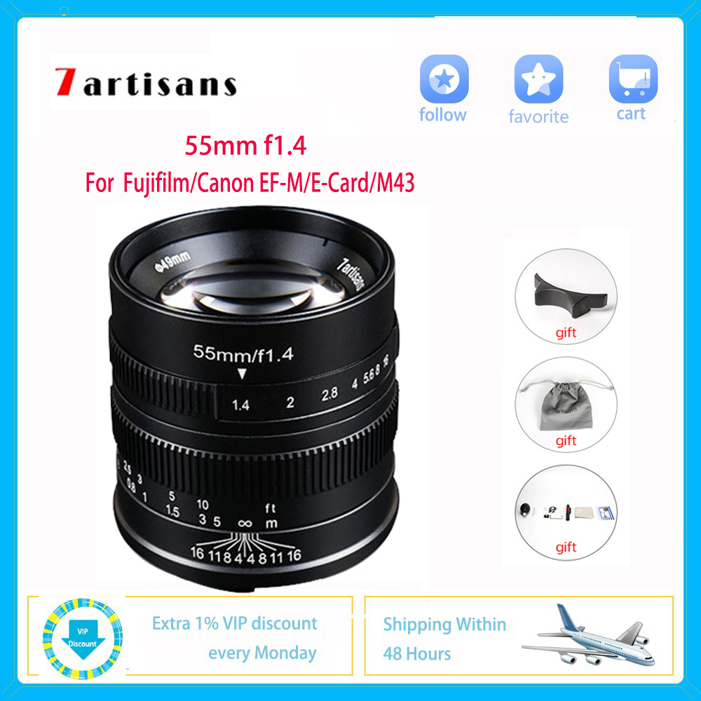 Rapture 7artisans 55m F1.4 Camera Lens For Sony E Canon Eos-m Fuji Fx M4/3 Micro Slr Professional Photo Studio Photographic Video Vlog Discounts Price