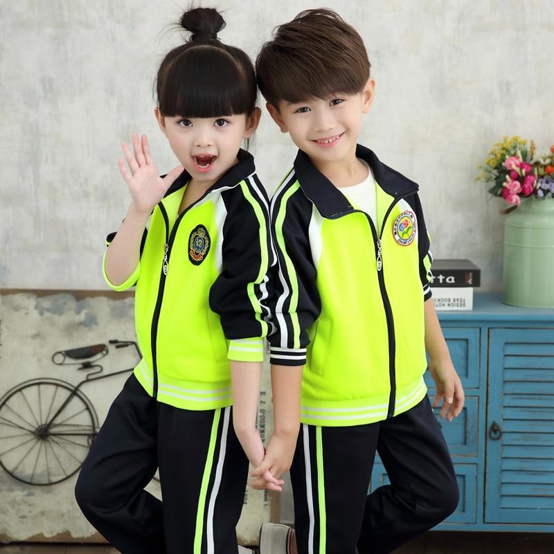 Young STUDENT'S School Uniform 2018 Spring New Style Thin Children Business Attire Set Two-Piece Hoodie Kindergarten Suit