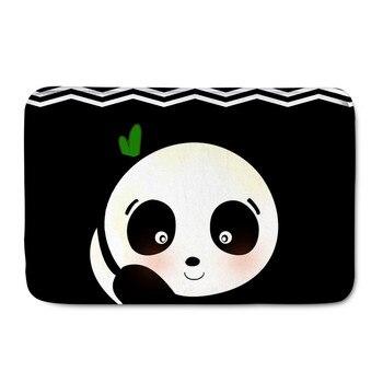 Upetstory encantador Panda negro impresión franela puerta alfombrilla para entrada puerta frontal Super antideslizante baño Living cocina felpudo