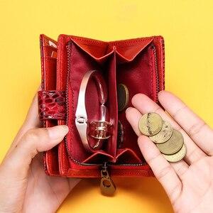 Image 2 - İletişim küçük cüzdan kadın hakiki deri kadın çile kısa bozuk para çantaları Rfid kart tutucu kadınlar için cüzdan carteira masculina
