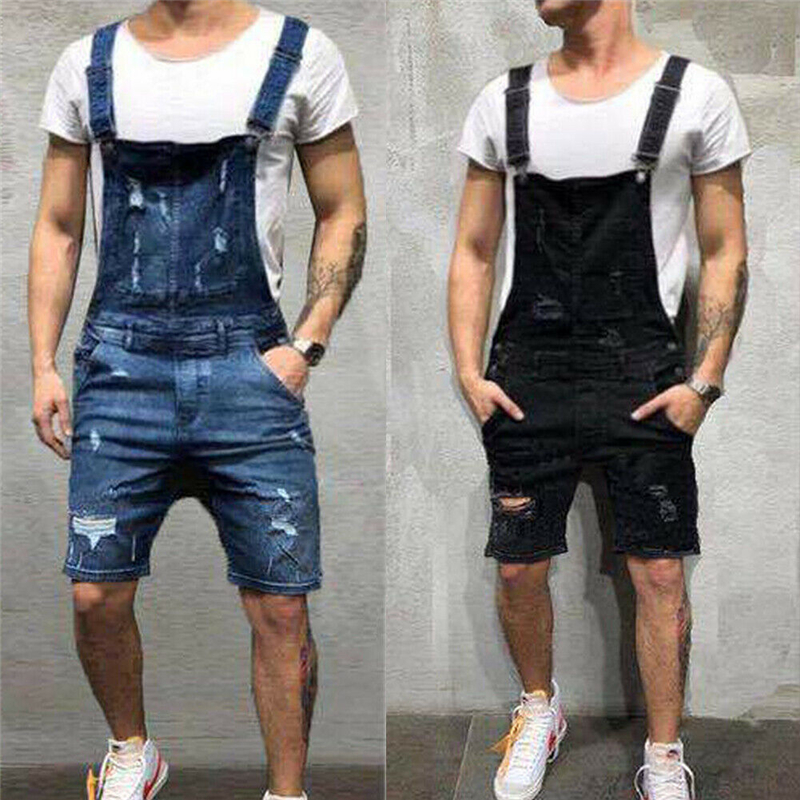 Jeans Rompers Overall Dungarees Men Jumpsuit Suspender-Pockets Scratched Men Ripped Casual