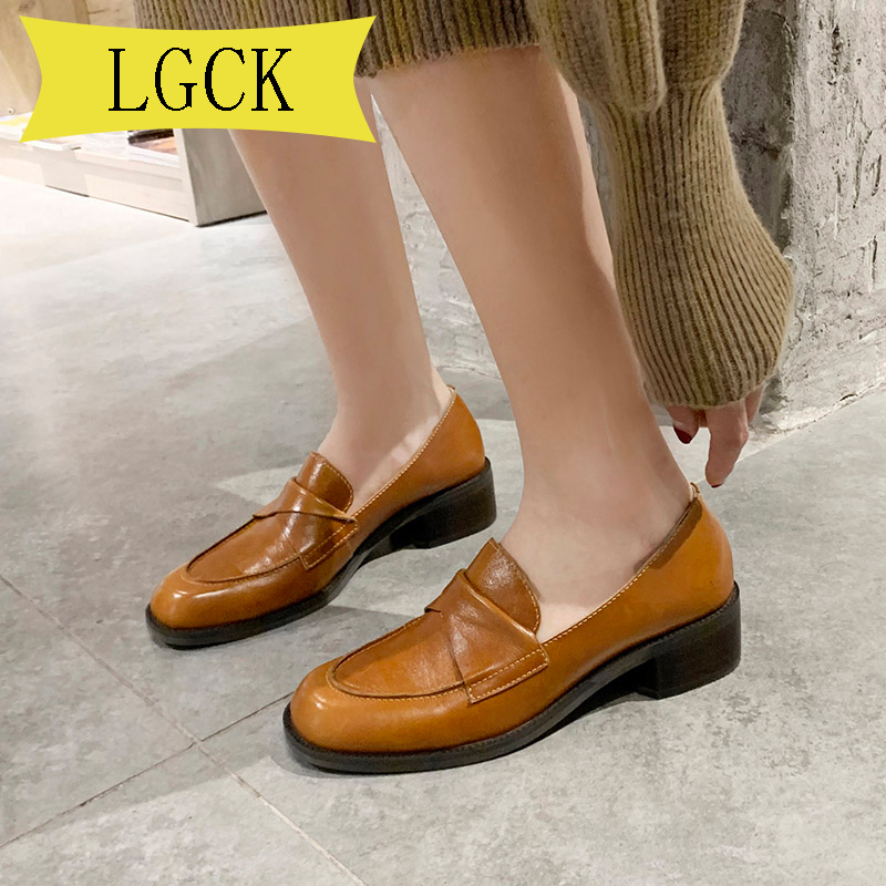 Plus Size 34-44 High Quality Flats Women Genuine Cow Leather Round Toe Slip-On Casual Penny Loafers Med Heel Lady Shoes Handmade