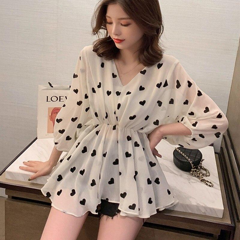 BLOUSE   Summer new Casual Batwing Long Sleeve   Blouse   Tops 2019 New Heart Print V Collar   Shirt   Fashion Loose Chiffon   Blouses