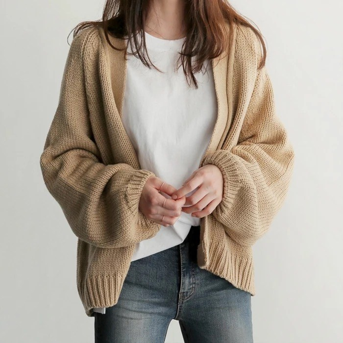 Autumn Winter V-Neck Knitted Cardigans Women Open Front Loose Sweater Casual Lantern Sleeve Solid Outerwear