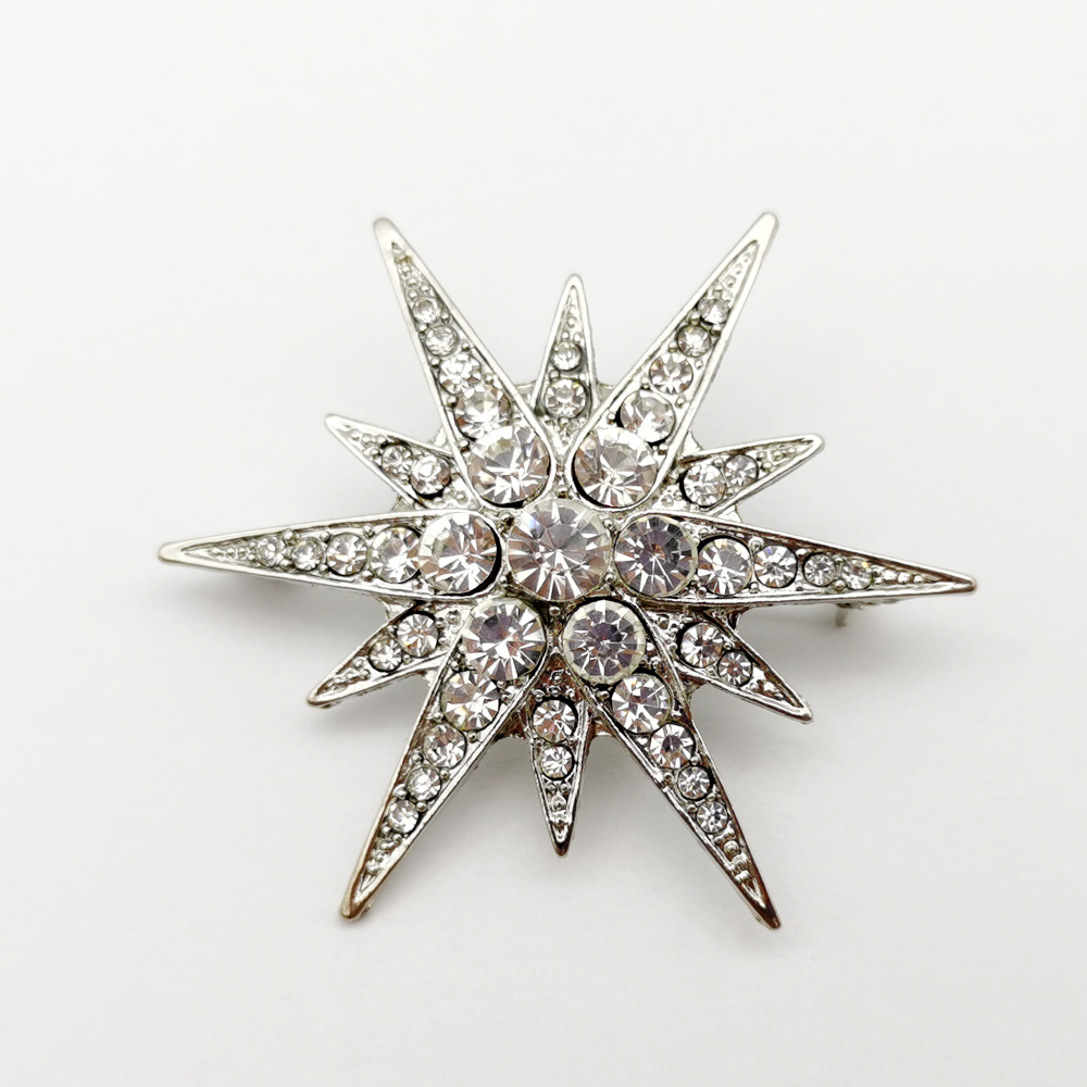 Vintage Victorian Luxury Rhinestone Starburst Star Brooches & Pins Shiny Crystal Cloak Lapel Pin Women Bouquet Jewelry