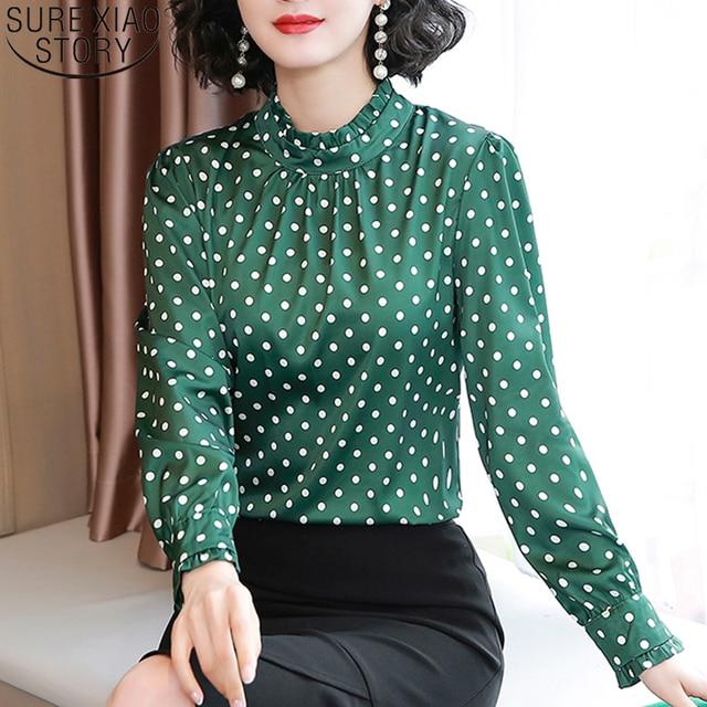 Women Blouses Casual Stand Collar Autumn Fashion Women Shirts Blouses Long Sleeve Polka Dot Women Tops 2021 Fashion Blusas 10589 1