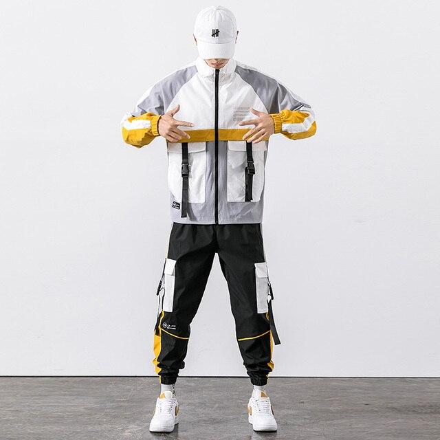 2021 Hip Hop Workwear jacket Mens Tracksuit Jacket+Pants 2PC Sets baseball loose Zipper Ribbons Coat & Long Pants Mens Clothes 6