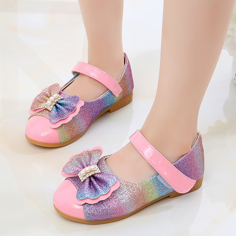 2020 New Kids Shoes For Girls Shoes Children Kids Casuals Shoe Baby Girl Pearl Bowknot Bling Single Princess Casual Shoes