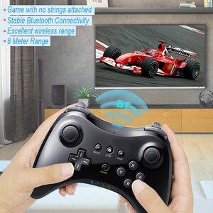 Image 4 - Czarny klasyczny podwójny analogowy bezprzewodowy pilot Bluetooth U Pro kontroler do gier Gamepad do Nintendo na Wii U
