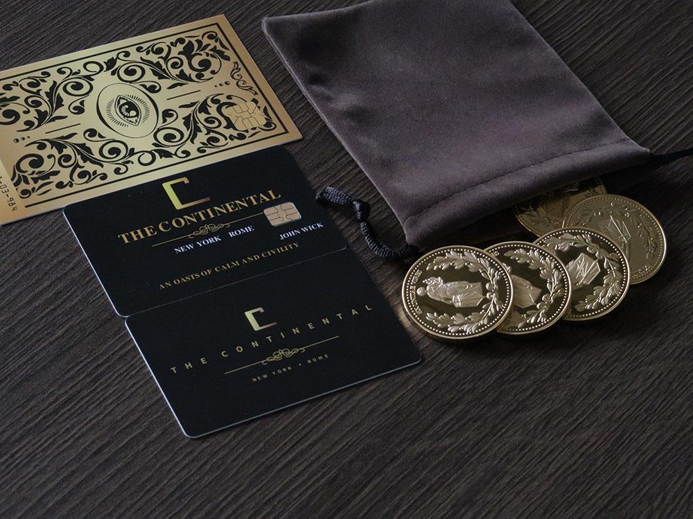 5 pçs terno 1:1 john wick filme adereços fundição liga de zinco coleção moedas de ouro com continental hotel cartão melhor presente europeu