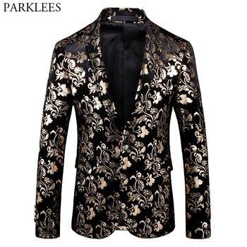Mens Luxury Retro Vintage Suit Blazer Peak Lapel Velvet Blazers Men Slim Fit Gold Floral Pattern Dress Suits for Wedding Dinner