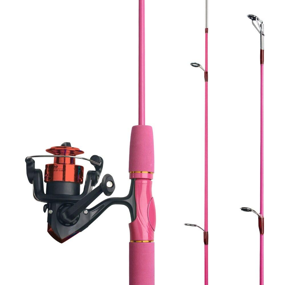 TIANNSII 1,5 м детская удочка для рыбалки, для начинающих, удочка для рыбалки, милая удочка, включает спиннинговую катушку розового и зеленого цве...
