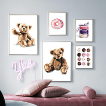 Teddy Donut Macarons Cartoon Wall Art Print Canvas Painting Nordic Posters And Prints Pictures Baby Kids Room Decor
