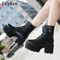 Eilyken 2019 New Winter Thick High Heels 8.5cm Lace Up Zipper Ankle Boots Black Round Toe Platform Women Boots Shoes