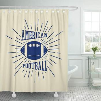 Decorative Shower Curtain Ball Vintage Rugby and American Football Labels Emblems and ABC Active Activity 72x78 Waterproof image