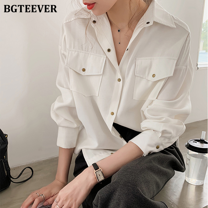 BGTEEVER Office Ladies Blouses Shirts Single-breasted Lapel Female Blouses Tops Plus Size Women White Shirts Femme Blusas 2020