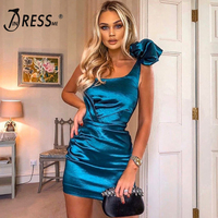 INDRESSME 2020 New Fashion One Shoulder Sleeveless Pleated Satin Mini Dress Women Sexy Draped Party Vestidos