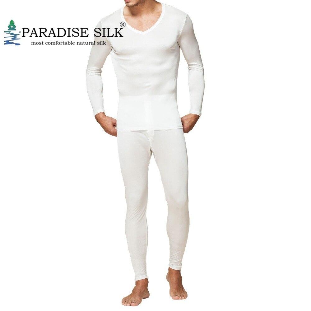 Uomini Calzamaglia invernale, intimo termico 100% Pura Seta Jersey Knit Uomo Con Scollo A V Biancheria Intima Termica Per Gli Uomini Autunno Inverno Superiore e Inferiore Set taglia L XL XXL