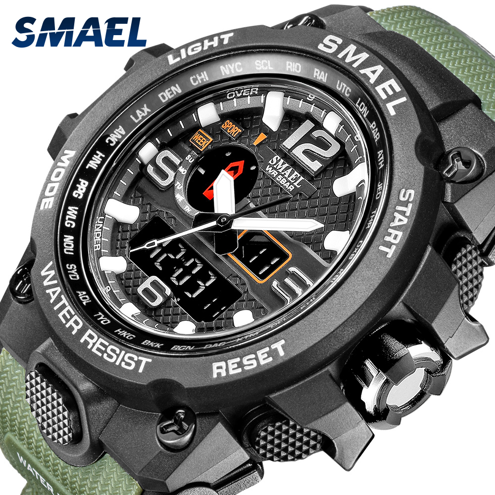 Men Military Watch 50m Waterproof Wristwatch LED Quartz Clock Sport Watch Male relogios masculino 1545 Sport Watch Men S Shock 1
