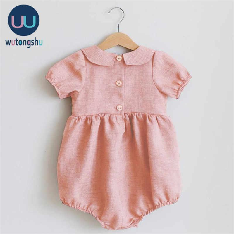 Baby Mädchen Kleidung Sommer Organic Baumwolle Casual Neue Geboren Mädchen Sunsuit Overall Kurzarm Rosa Overall Für Neugeborene Strampler 3M