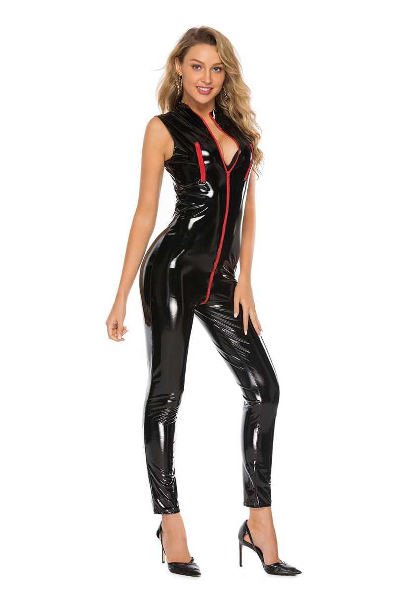 Sexy wetlook Faux cuero Catsuit PVC látex Bodysuit cremallera frontal entrepierna abierta Clubwear fetiche caliente ropa erótica Lencería talla grande