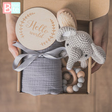 Baby Handdoek Pasgeboren Bad Speelgoed Set Dubbelzijdig Katoen Deken Houten Rammelaar Armband Gehaakte Speelgoed Babybadje Gift Producten Voor kids