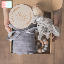 Baby Towel Newborn Bath Toy Set Double Sided Cotton Blanket Wooden Rattle Bracelet Crochet Toys Baby Bath Gift Products For Kids