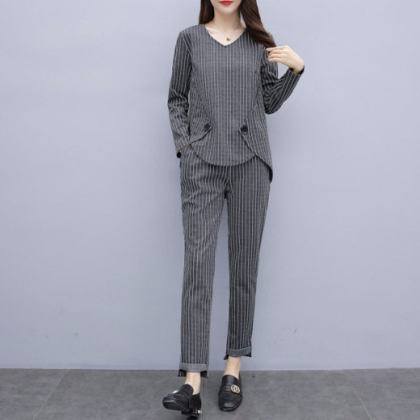 L-5xl Plus Size Striped Two Piece Sets Outfits Women Long Sleeve Tops And Pants Suits Casual Office Elegant Korean Matching Sets 31