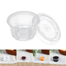50pcs Disposable Plastic Clear Sauce Chutney Cup Box Plastic Sauce Cups With Lid Food Takeaway Organizer Kitchen Gadgets