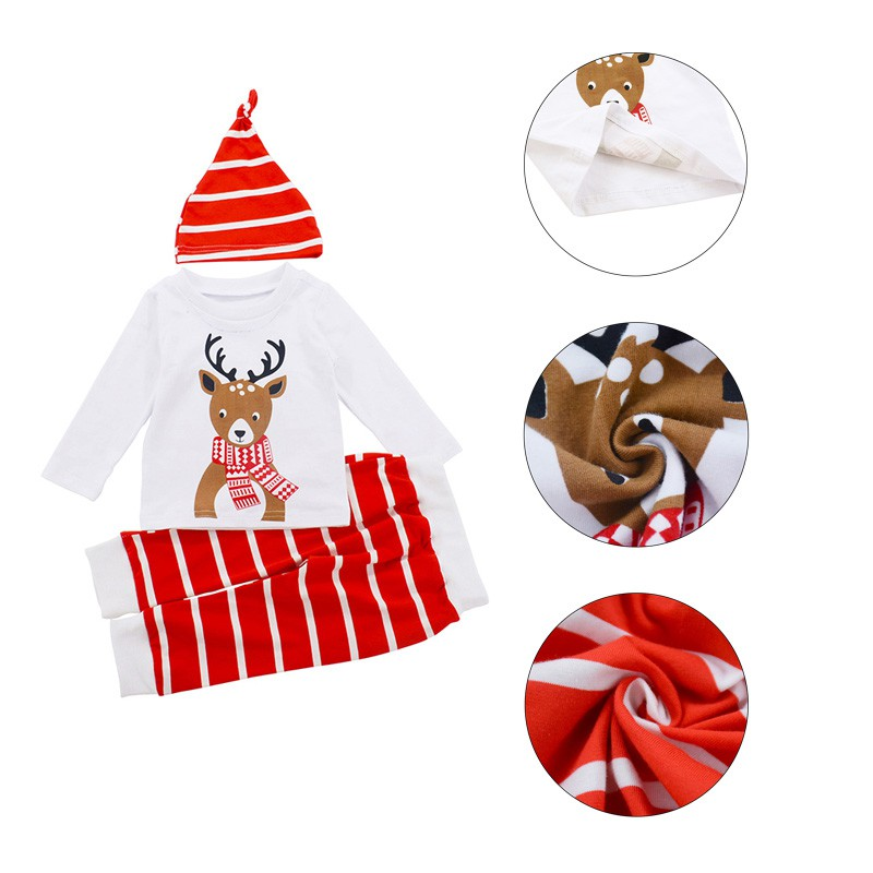 hilittlekids Children Clothing Baby Long Sleeve Deer Head Stripes Printing 3PCS Set Christmas Costumes Cotton Baby Clothes in Clothing Sets from Mother Kids