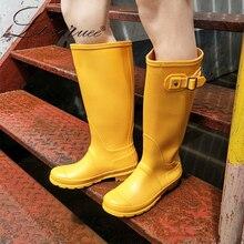2019 Ladies Waterproof Yellow Rain Boots Female Knee-high Fashion Women Rubber Rain Boots Girls Shoes Rainboots PVC Rain Shoes pvc leopard women rain boots female waterproof rainboots rubber shoes kawaihae brand knight riding boots