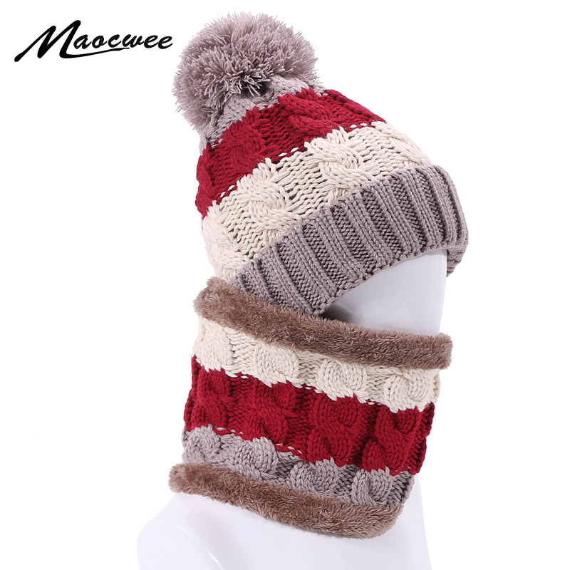 Winter Hat Scarf Set For Women Girl Warm Lnner Heater Beanies Hat For Girl Ring Scarf Pompoms Winter Hats Knitted Caps Scarf