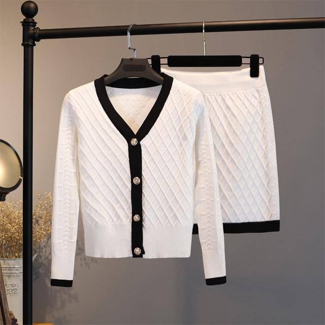 2020 Knitted Two Piece Set Women Elegant Sweater Cardigan + Mini bodycon Skirt Set Suit Matching Sets ensemble femme 2 piece set