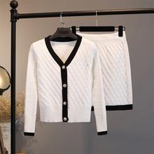 2020 conjunto de duas peças de malha feminino elegante camisola cardigan + mini bodycon saia conjunto terno conjunto correspondência conjuntos conjunto femme 2 peça conjunto
