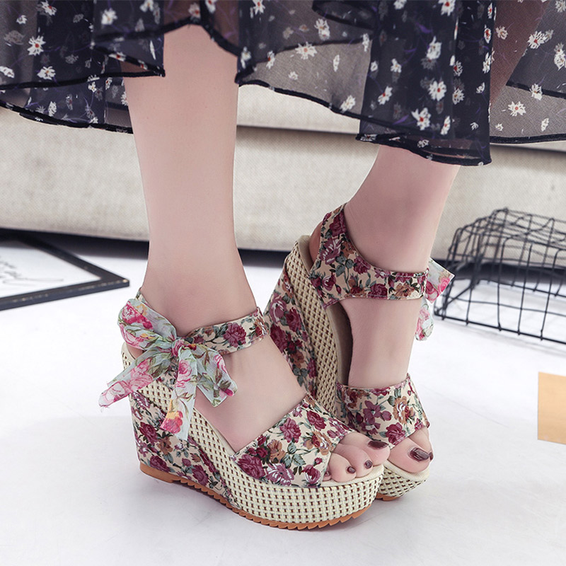Dot Bowknot Platform Wedge Sandals