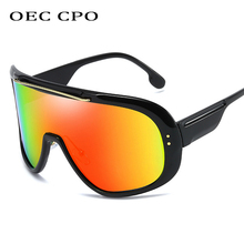 OEC CPO Oversized Sunglasses Women Men One-Piece Shield Visor Windproof Goggles Rivet Gafas de sol  O204