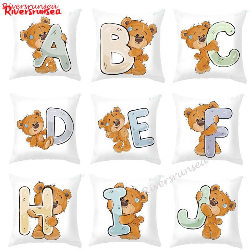 Cartoon Bear Letter Cushion Cute Lovely 26 English Alphabet Word Combination Name Kids Plush Pillow For Children Birthday Gift